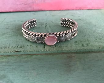 Pink Mother of Pearl Sterling Silver Bracelet