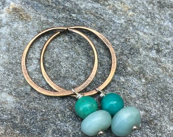 Simple Turquoise Drop Earrings - Mixed Metal Silver & Rustic Gold Bronze Continuous Hoops - BOHO Tribal Jewelry - Turquoise and Amazonite