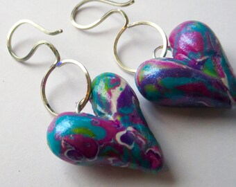 DARIAH 2. Purple. Magenta. Pink. Turquoise Blues. Polymer Clay Puffy Heart Earrings by Anita Berglund