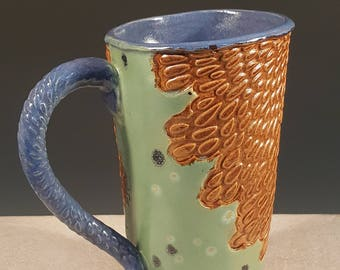 Large Pottery Flared Coffee Mug, Beer Stein, Tankard