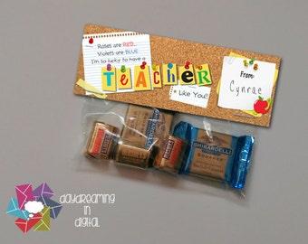 INSTANT DOWNLOAD -Digital File - Corkboard Teacher Treat Bag Topper- Printable