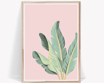 Palm Leaf Print,Tropical Leaves,Wall Art,Leaves,Decor,,Prints,Tropical Decor,Tropical,Pink,Pastel,Green Leaves,Large Wall Art,Art Prints
