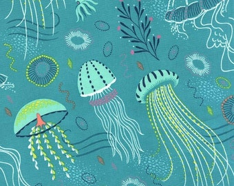 Beach Fabric - Jellyfish Sea Fabric - Michael Miller Into the Deep