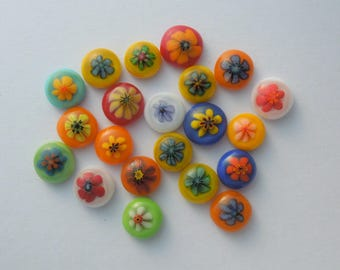 Fused Glass Millefiori Mini Cabs - Cabochons - Lampwork Beads - Fused Glass - Flower Beads - Glass Bead - Findings 5644