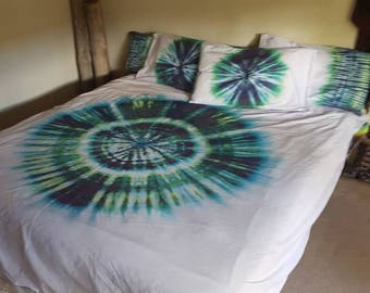 Bohemian Earth Child ~ Tie dye Bedding, Quilt Cover, Doona Cover, Duvet Cover Set, Cot Set. Tie dyed bedding by Australian Artist Clair Sol