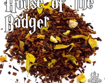 House of the Badger - loose leaf honeybush tea, lemon orange lime, citrus cake tea, Harry Potter gift, Helga Hufflepuff, sorting hat, Cedric