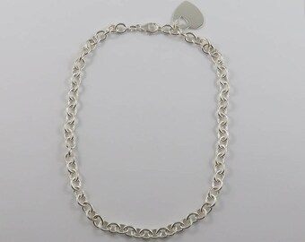 """Sterling Silver 16"""" Round Link Necklace With a Heart Shaped Charm"""