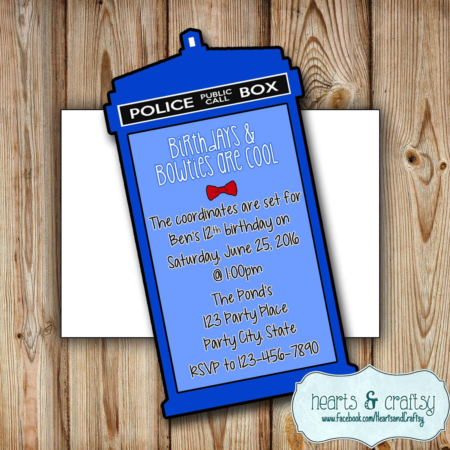 Personalized Doctor Who Party Invitation Doctor Who Birthday