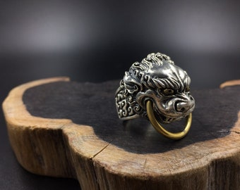 Buddhist ring, feng shui in 925 sterling silver and copper Buddha lion (佛狮)