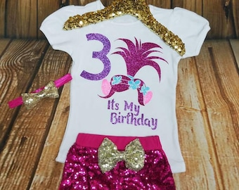 Troll Birthday, Troll Birthday Shirt, Troll Bodysuit, Personalized Troll Outfit, Trolls Birthday Outfit, Girls Poppy Troll   Hair Birthday