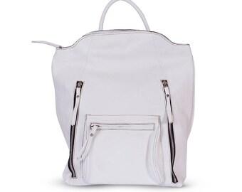 White leather backpack, laptop backpack, large leather bag, computer bag, college backpack, women backpack, stylish backpack, woman handbag