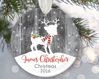 Personalized Children's Christmas Ornament, Child ornament, Fawn Deer Personalized Christmas Ornament, Deer Ornament, Faux Gray Wood OR075