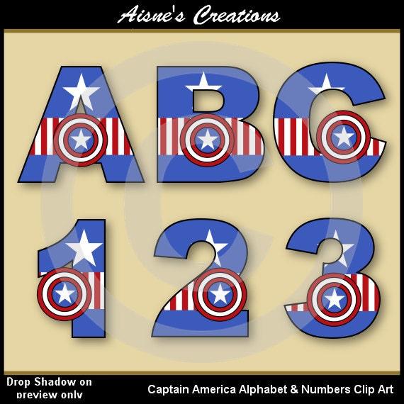 Captain America Avengers Alphabet Letters & Numbers Clip Art