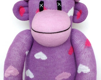 Pretty purple love heart Sock Monkey with lilac pom pom hat, ce certified