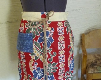 Tropical Skirt, Unique Clothing, Handmade Skirt, Drawstring Waist, Large Pocket, Colorful Skirt, Recycled Fabric, Upcycled Fabric, Red Skirt