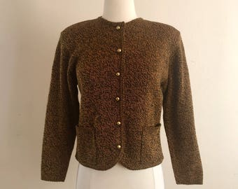 Vintage Knit Cardigan in Black and Mustard by Karen Scott - Gold Buttons and Shoulder Pads Size Small