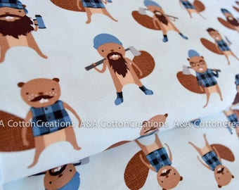 Quilting Cotton, Burly Beavers Fabric, Blue Cotton, Hipster fabric, Boy Fabric, Apparel Fabric, Robert Kaufman Fabrics