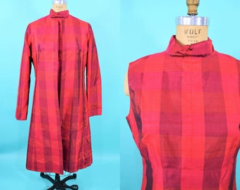 1960s dress set | hot pink red silk madras mod matching sheath dress jacket | vintage 60s dress | W 32""