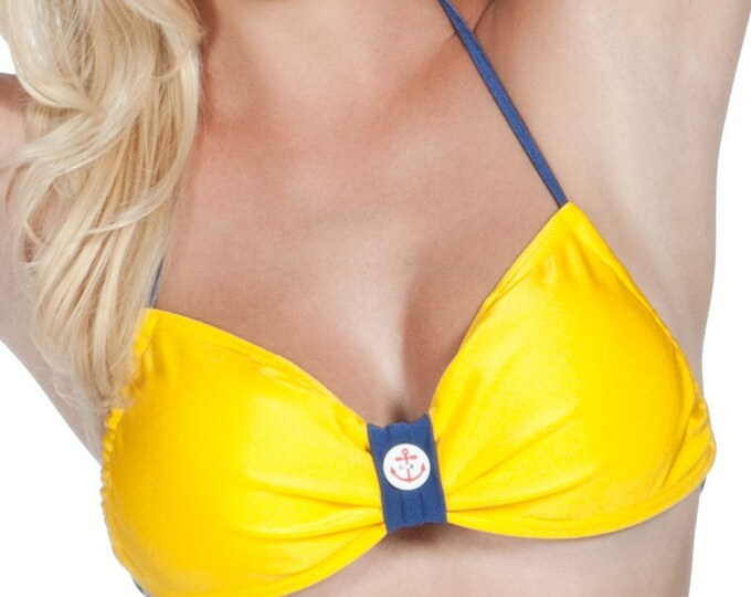 Trixie Halter Bikini Top in Yellow and Navy XS and S ONLY!!