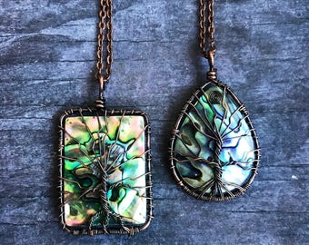 Wire Wrapped Tree of Life Abalone Shell Necklace, Copper wire, Shell Necklace, Tree of life Necklace, Mother's Day Gift