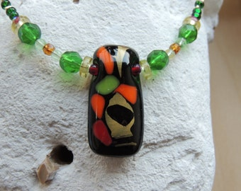 Fused glass necklace, beaded glass pendant necklace,black orange red gold beaded fused glass necklace,fused glass pendant, painted pendant
