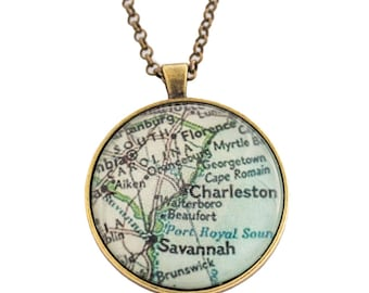 Charleston Map Necklace/ City