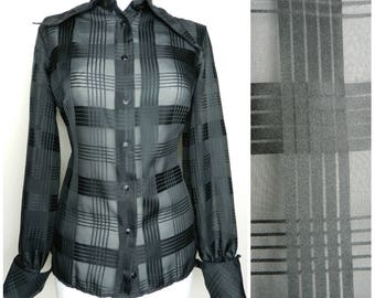 Sale 70s semi sheer black polyester plaid blouse disco shirt Massive dagger collar balloon sleeves U.K.  12 - 14 M