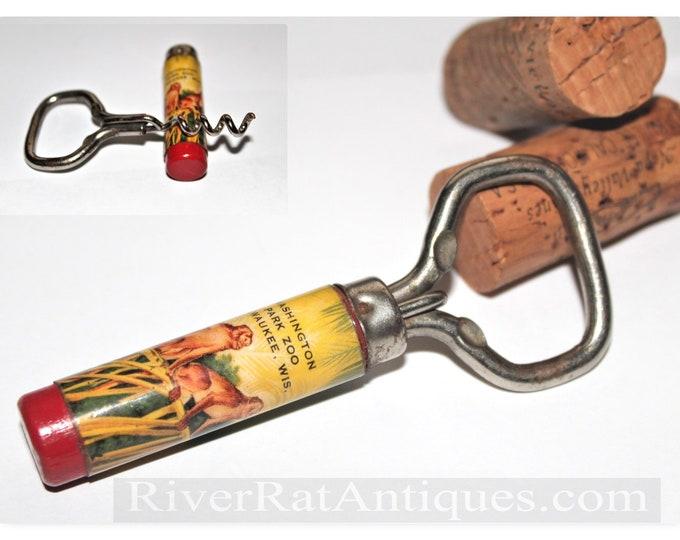 Vintage Flash Advertisement Corkscrew / Bottle Opener, Washington Park Zoo, Milwaukee, WIS