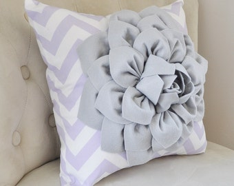 Light Gray Dahlia on Lilac and White Zigzag Pillow -Decorative Chevron Pillow-