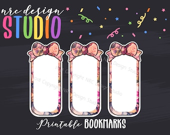 SALE Printable Bookmarks, Planner Die Cuts, Planner Bookmarks, Page Marker, Floral Bow, Journal, Notebook, Planner Accessories