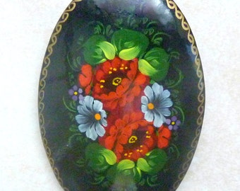 Vintage Russian Brooch, Large,  Hand Painted,  Russian Lacquer, Flower Brooch.