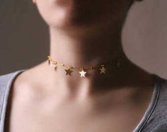 Gold boho choker, boho necklace, bohemian choker, Minimalist jewelry, STARs choker, rose gold boho choker, stars necklace, Layering Necklace