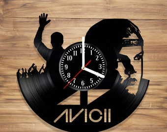 Avicii Vinyl Wall Clock DJ Tim Bergling Electronic Music Swedish Perfect Art Decorate Home Style UNIQUE GIFT idea for Him Her (12 inches)