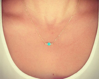 New - Turquoise Tiny Gem Pendant Necklace in gold - Turquoise Gem Charm  - Pretty little things - Minimalist Jewelry - The Lovely Raindrop