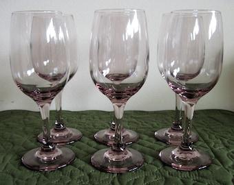 6 Vintage Libbey Plum Rose Wine Glasses Tulip Shape Circa 1980's