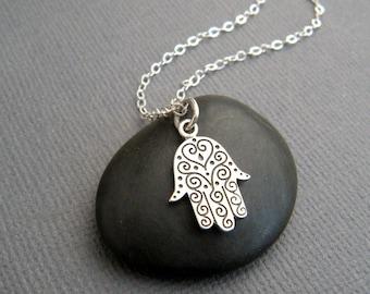 small hamsa hand with swirls necklace. etched sterling silver. zen yoga pendant protection faith symbol jewelry hamesh khamsa. chamsa. charm