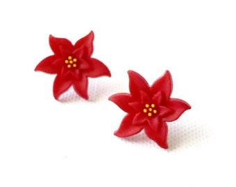 Poinsettias Earrings, Red Flowers, Stud, Post, Christmas Earrings, Christmas Jewelry, Holidays