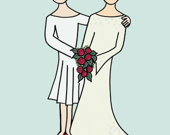 Happy Wives, Happy Lives - greetings card reproduced from an original drawing by Susannah Jeffries