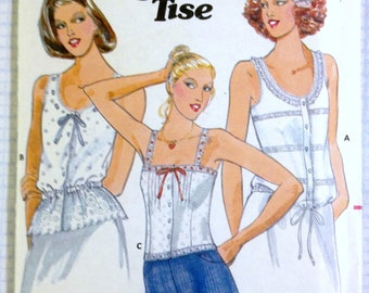 Peplum Camisole Tank Button Through Tops Jane Tise Vintage Sewing Pattern Butterick 5992 Misses Size 10