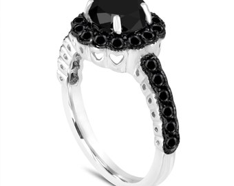 Platinum 1.75 Carat Black Diamond Engagement Ring Certified Halo Pave Unique Handmade