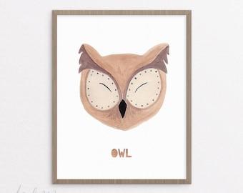 Owl Nursery Print - Owl Print - Nursery Art - Printable - Nursery Owl Art - Kids Owl Art - Baby Gift - Instant Download 8x10
