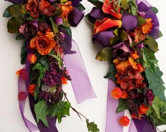 Flower Arrangement Bride Wedding Pew Bows Plum and Orange 2