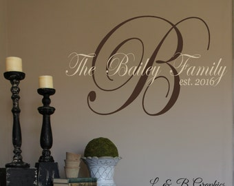 Family Name Monogram Est Date-#3 Vinyl Wall Decal- Custom Name- Entryway-Wall Decor-Fancy Name- Modern Decor-Wall Decor-Wedding- Anniversary