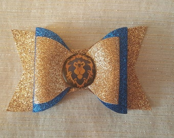 World of Warcraft Alliance Bow // WoW Glitter Bow // Alliance Glitter Bow