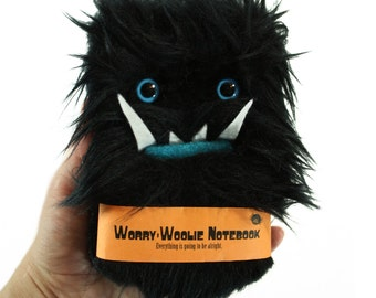 Childrens furry Notebook, Worry Woolie, black blue magical monster journal