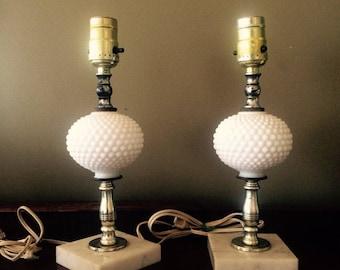 Two Vintage White Milk Glass Table Lamps Hobnail Lamps Cottage Decor