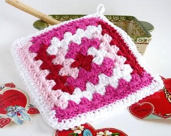 Pot Holders, Potholders, Granny Square, Valentine's Day, Crocheted Pot Holders, Cotton Pot Holders, Hot Pads, Trivets, Handmade, Homemade