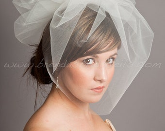 "Illusion Tulle 17"" Bridal Birdcage Veil, Detachable Tulle Pouf - White, Diamond White, Ivory, Champagne, More Colors, Matte, Sparkle"