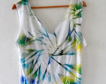 Hand Dyed Womens  Crop Top, Blue Green geometric dyed Tank Top, Hand Cut Crop,  women summer top, size S