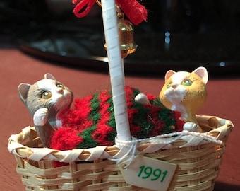 APRILSALE Vintage 1991 Hallmark Keepsake Christmas Ornament Kitty Cats Wicker Basket Bell Players  No Box